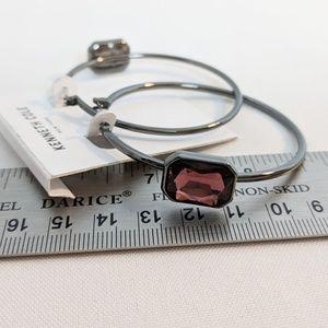 Kenneth Cole Jewelry - Kenneth Cole Pewter Hoop Earrings & Purple Stones
